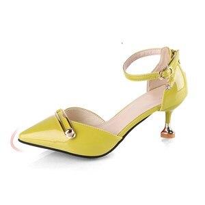 Image 2 - Sandalias de verano para mujer con tacones altos con correa de tobillo, zapatos de tacón de bloque, color rosa, 2020