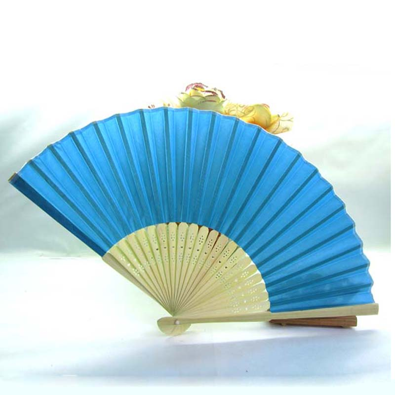 50Pcs Blue Silk Wedding Fan With Name & Date Personalized Folding Hand Fans Favor Customized Wedding Gift For Guests+Organza Bag