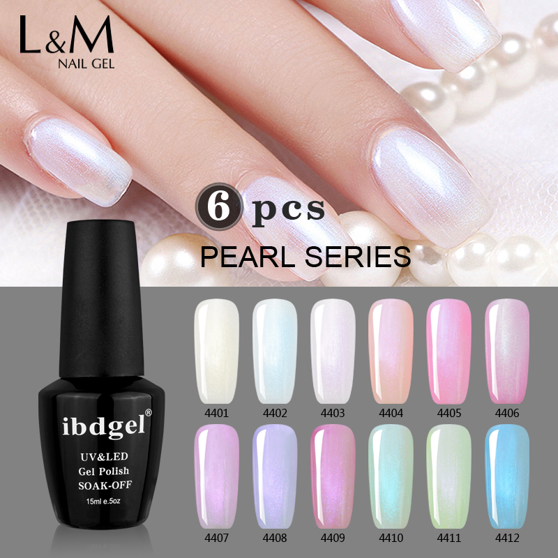 6 Pcs IBDGel 15ML Nails Colors Gel polish Set Shinning Pearl Gel Polish Super Gel Varnishes (1base 1top 4color) Factory Wholesal