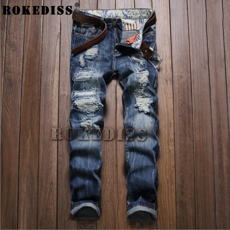 Male fashionable Straight Spring Autumn Ripped Robin for 2016 jeans skinny patches mens biker casual brand-clothing jeans B96