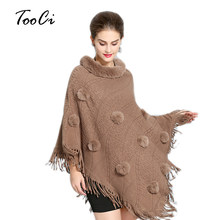 2018 Women Faux Fur Bat Sleeve Ponchos And Capes Round-Neck Knit Khaki Women Sweaters And Pullovers Faux Fur Coat Wedding(China)