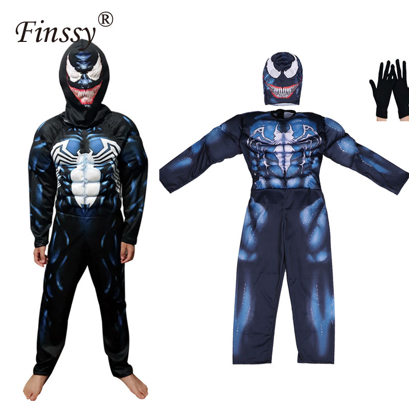 2018 Web of Spider Man Venom Cosplay Costume for Kids Halloween Carnival Costume for Men  jumpsuit suit With Mask gloves