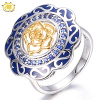 HUTANG Created Blue Sapphire Enamel Solid 925 Sterling Silver Flower Ring Chinese Element Gemstone Fine Jewelry