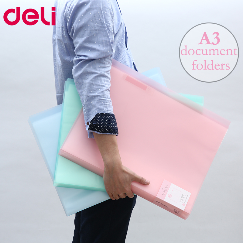 Deli A3 Data document presentation folder 297*420mm 60/40 page transparent folder vertical insert document booklet plastic file folder a3 data book color page 20 insert clip 8k drawings album poster a3 file folder for office