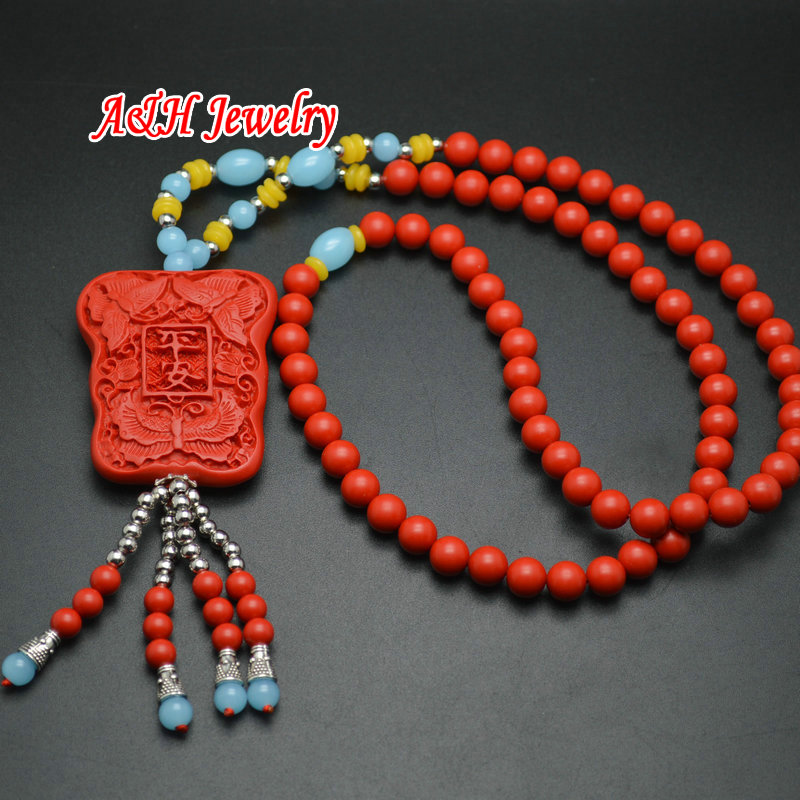 5pcs High Quality Red Cinnabar Guanyin Fine Carved Pendants Fashion Women Sweater Chain Necklace Christmas Gift