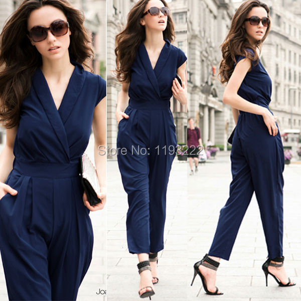Fashion Women Sexy Lady's 3 Color Cross V-neck Empire Waist Sleeveless Cocktail Party Evening Pants Long Jumpsuit Romper