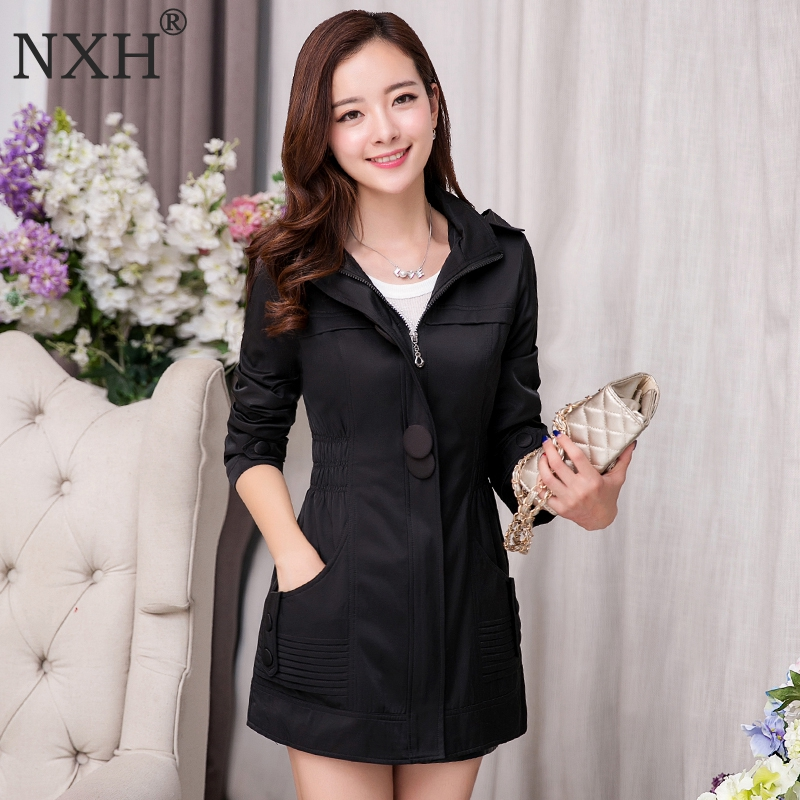 NXH 2018 New Fashion Women Black Blue Trench Coat Female Slim Hooded Windbreaker ladys outerwear overcoat Plus size L-4XL
