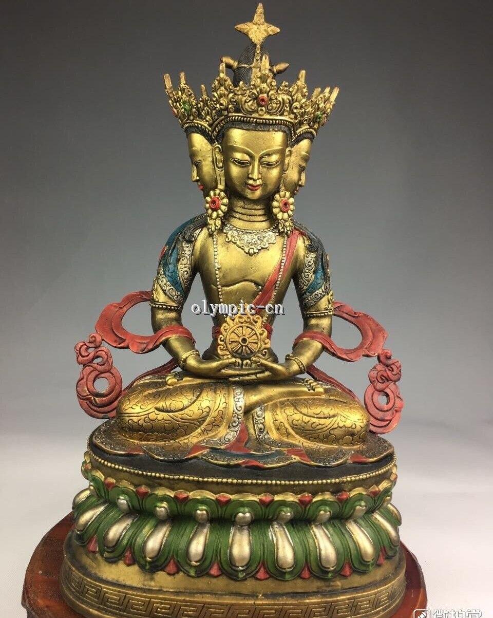 14 Bronze gild Painting carved Lotus base three head Avaloktesvara Bodhisattva14 Bronze gild Painting carved Lotus base three head Avaloktesvara Bodhisattva