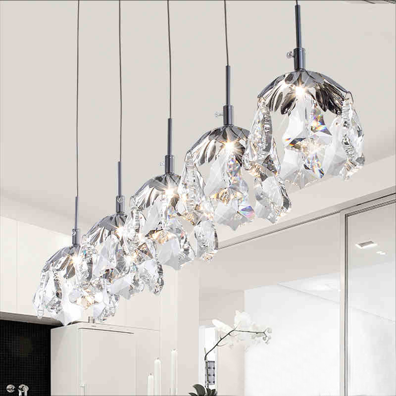 Nordic modern simple personality LED K9 Crystal hanging lamp single head three Restaurant Bar bedroom lighting Free shipping zx modern round acryl pendant lamp simple restaurant led chip droplight single head study bar shop office lamp free shipping