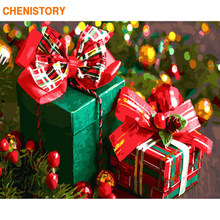 CHENISTORY Frame Christmas Picture DIY Painting By Numbers Gift Box Modern Wall Art Picture Acrylic Paint On Canvas For Home Art(China)