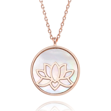 Rose Gold Lotus Flower Necklace for Women Shell carved plated ladies pendant necklace ROHS copper necklaces