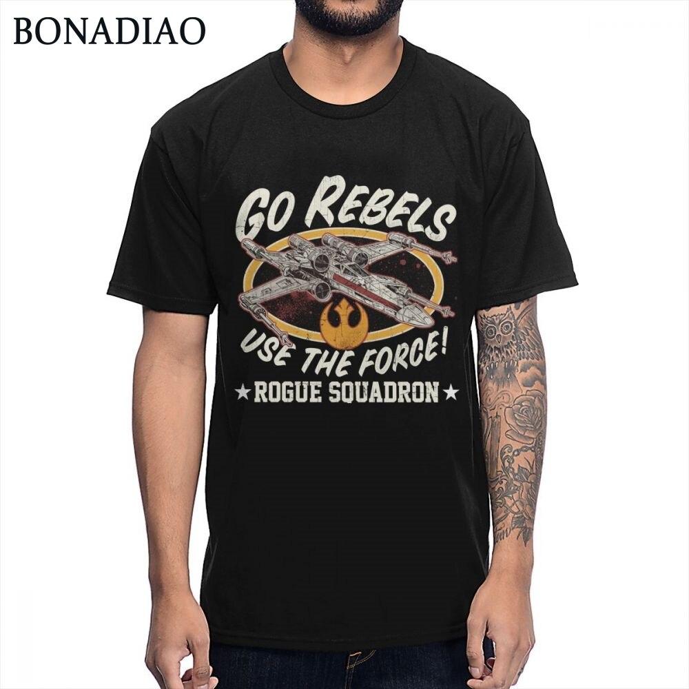 4353ec76 Camiseta de algodón orgánico moda Streetwear Star WARS Rogue un escuadrón  camiseta chico Homme camiseta BONADIAO