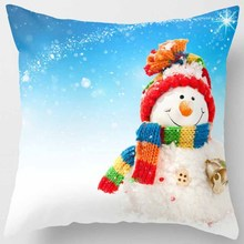 Creative design merry Christmas cute funny snow men with a scarf women square pillow case pattern