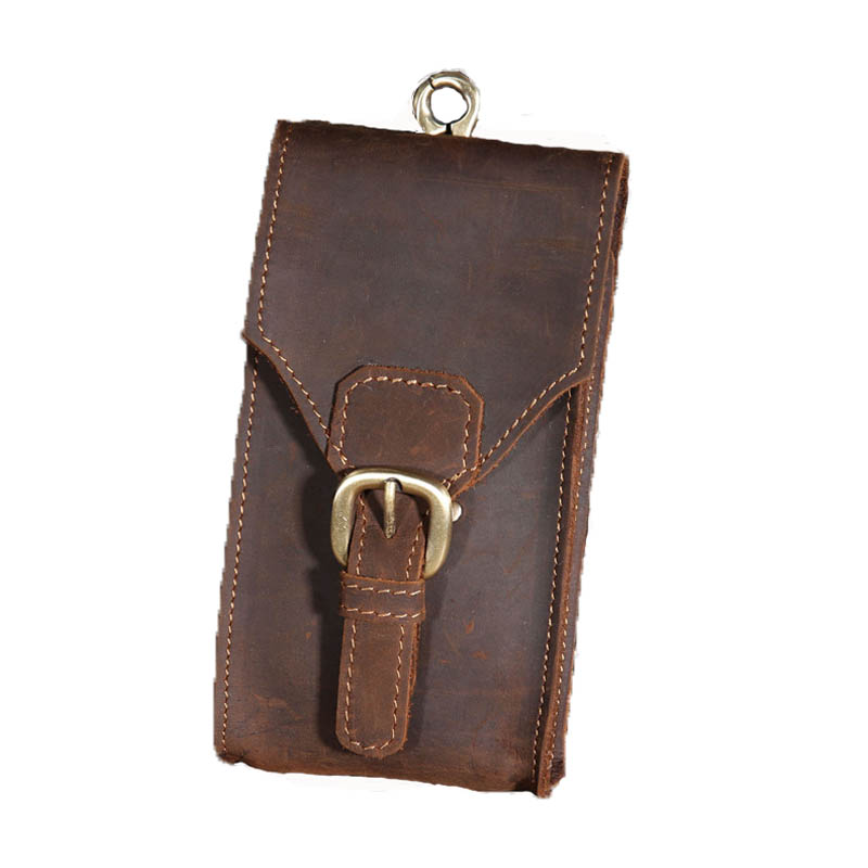 Men's Belt Waist Bag Genuine Leather Male Fanny Pack Crazy Horse Hip Travel Bum Loops Pack Phone Pocket Wallet Purse For Man Bag