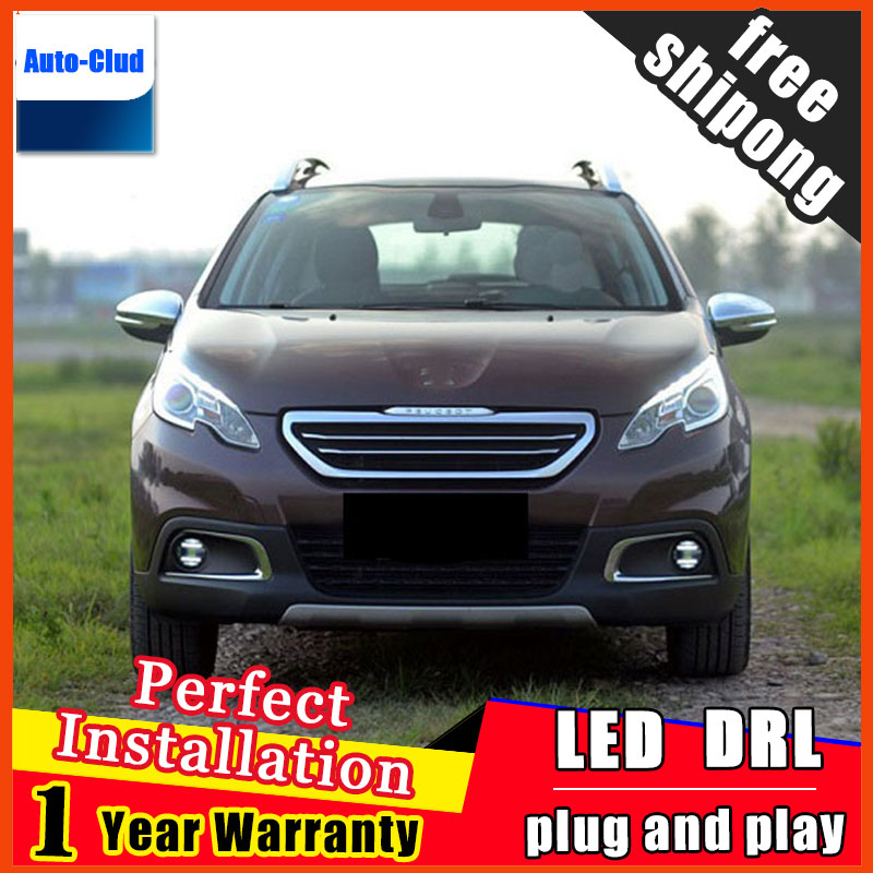Car-styling LED fog light for Peugeot DSDS5 2013-2015 LED Fog lamp with lens and LED daytime running ligh for car 2 function