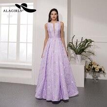 Alagirls 2019 New Arrival A Line Prom Dress Jacquard Floral Evening Lilac Party Vestido de fiesta