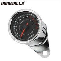 New Silver Motorcycle Stainless Steel LED Backlight Speedometer Tachometer Night Light Odometer For Suzuki Kawasaki Honda