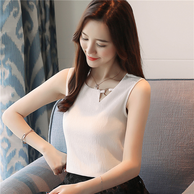Fashion feminine blouses chiffon women blouse shirt sleeveless summer ladies tops blusas sexy chiffon blouse women shirt 0266 40
