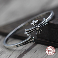 S925 Men's bracelet in Sterling Silver Personality retro hip hop cross Classic simple punk style Send a gift to love