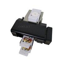 Máquina de impressão industrial automática do inkjet do cartão do pvc do disco de dvd do cd para a impressora de epson l800 com 50 bandejas do cd e bandejas do cartão 2pvc
