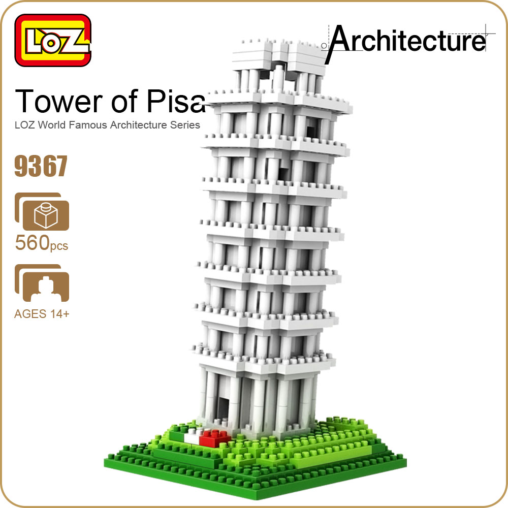 LOZ Diamond Blocks The Leaning Tower of Pisa Model Architecture Blocks Building Blocks City Bricks Creator Kid Assembly Toy 9367 1681pcs assembly blocks burj khalifa tower model toy diamond bricks kids gifts birthday present compatible creator 16 16 45cm