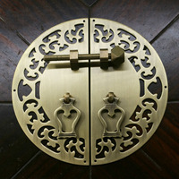 Chinese Antique Furniture Copper Fittings Cabinet Handle Shoe Bookcase Wardrobe Door Handle Drawer Hollowing Out Brass Pulls