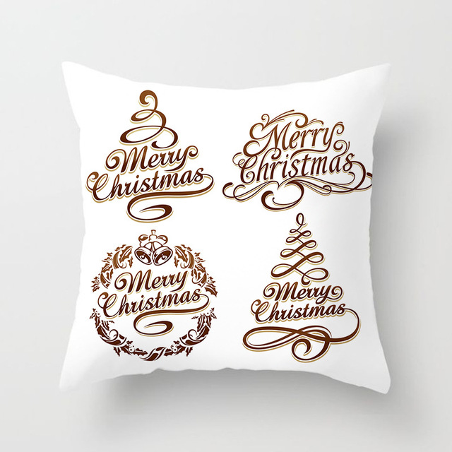 Christmas Cushion Cover Merry Christmas Decoration Pillowcases Santa Claus Polyester Throw Pillow Case Cover kerstmis navidad 5