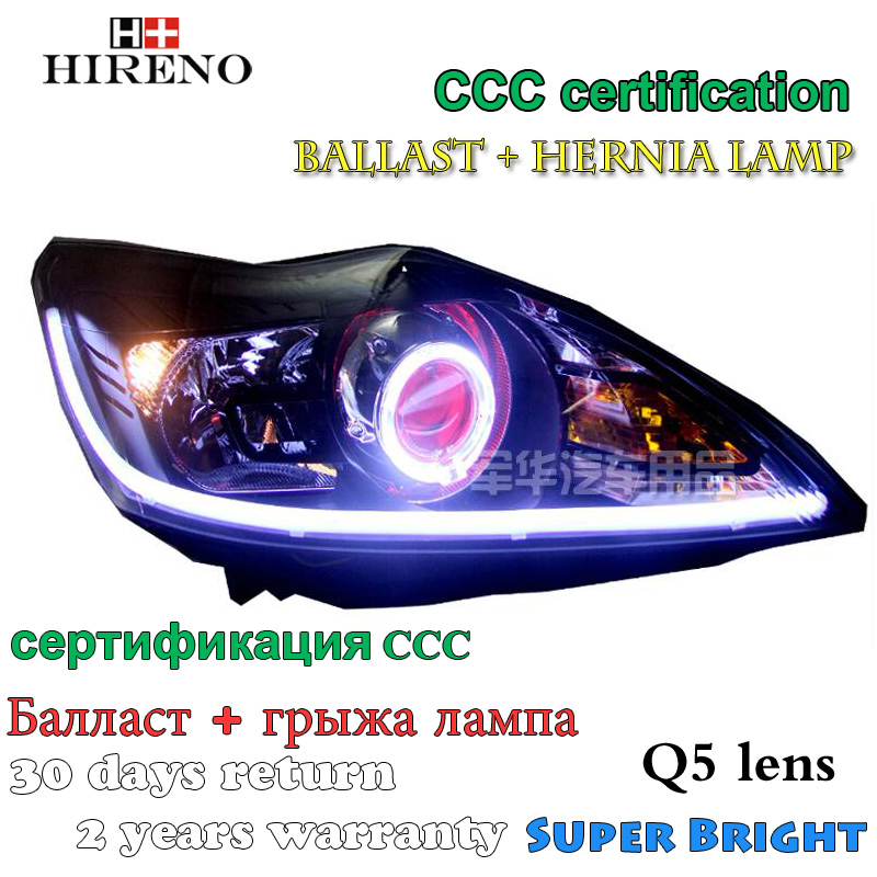Hireno Modified Headlamp for Ford Focus 2009-2011 Headlight Assembly Car styling Angel Lens Beam HID Xenon 2 pcs