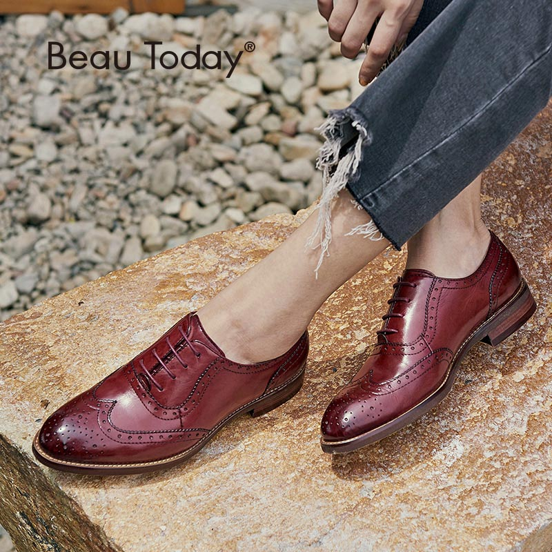 BeauToday Oxfords Women Wingtip Genuine Leather Calfskin Flats Lace-Up Pointed Toe Lady Brogue Shoes Handmade 21094
