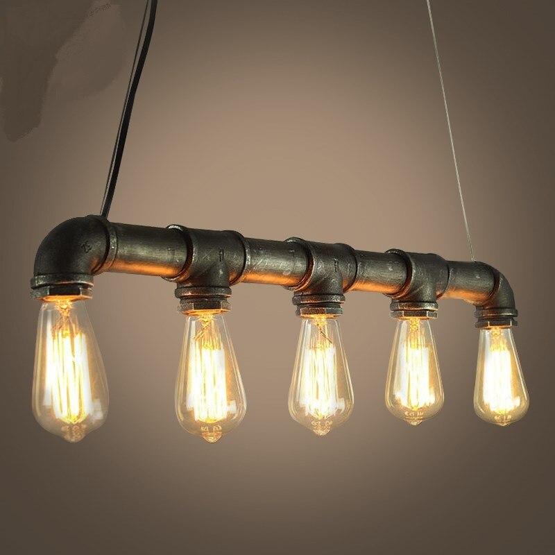 купить Water pipes personality style retro Pendant Lights bedroom study office cafe bar lamp Fashion personalize Pendant lamps za SG9 дешево