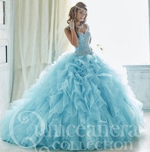 2017 Stunning Sky Blue Quinceanera Dress Puffy Beaded Prom Dress Sparkling Crystal Vestido De 15 Anos Sweet 16 Dresses QS17