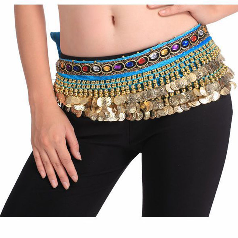 2016 Cheap Belly Dance Hip Belts Belly Dancing Coin Scarves for Women on Sale 14 colors