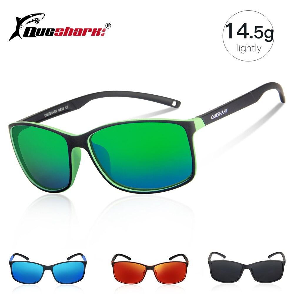 QUESHARK Leve Quadro de Óculos De Sol Polarizados Pesca Uv400 TR90 Pescador Caminhadas Acampamento de Esqui Óculos de Desporto Óculos De Pesca