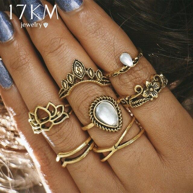 Conjunto de anillo de loto hueco de 17 km para mujeres Anillos Punk Vintage  Retro dedo d0ba8fb3037