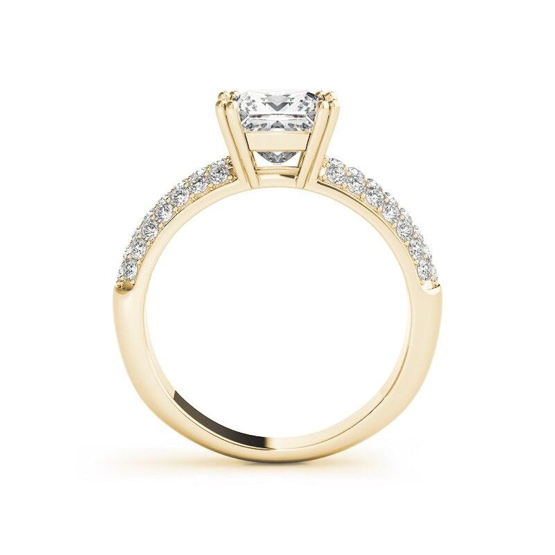 AINUOSHI 925 argent Sterling couleur or jaune 4 broches ensembles de bague de mariée 1.5ct princesse coupe mariage argent Sona anneau ensemble bijoux - 3