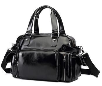 Multi-Function Men Genuine Leather Rivet Travel Bag Cowhide Casual Street High Quality Luggage Shoulder Bag Duffle Handbag D415