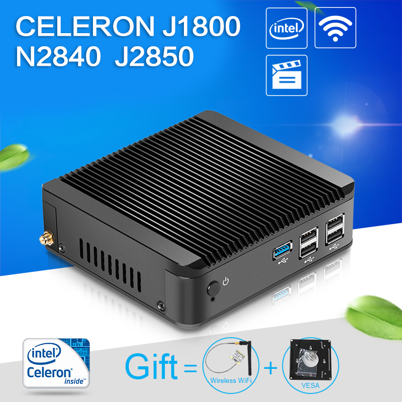 XCY Mini pc J1800 N2830 N2840 dual core 8G RAM 128G SSD WIFI HDMI VGA mini pc windows desktop computer case Windows 7/8/10/linux mini pc n2830 n2840 2gb ram 8gb ssd with wifi embedded thin client mini fanless pc support linux os ubuntu