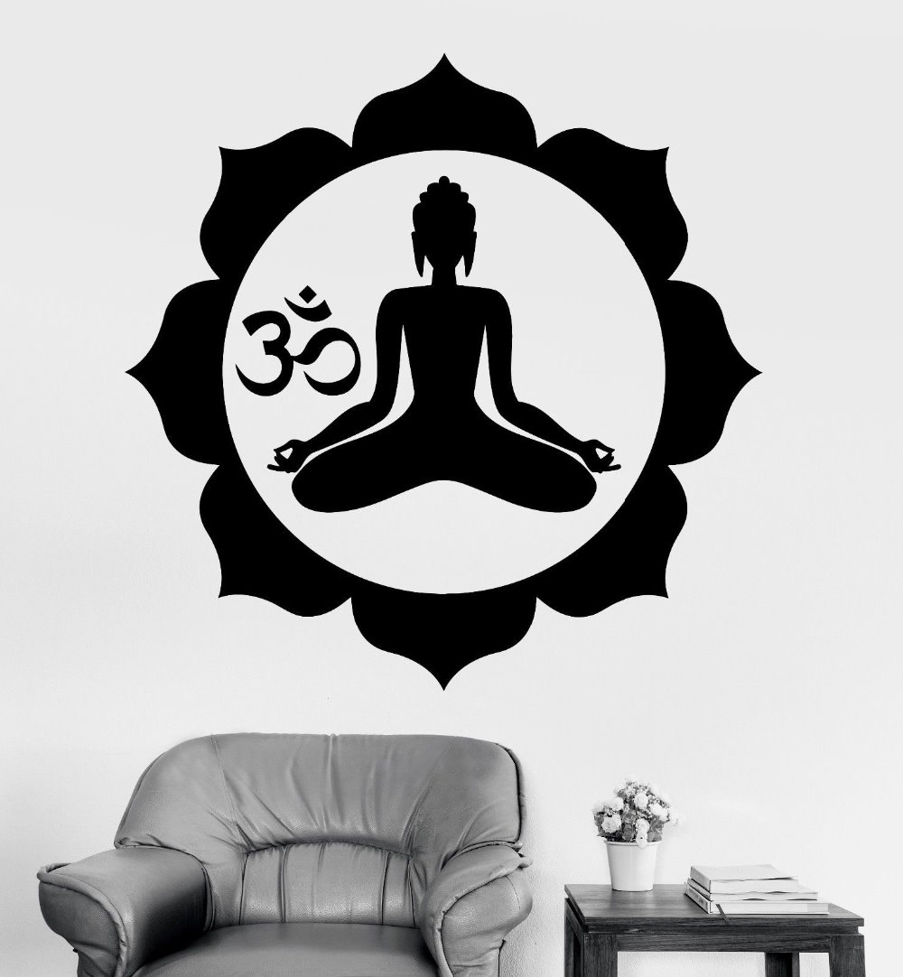Buddhism Wall Sticker Buddha Chakra Mandala Mantra Chakra Meditation Yoga Mural Art Wall Decal Sticker Room Home Decoration
