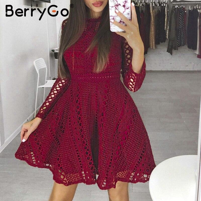 BerryGo סקסי אדום מיני תחרה שמלה אלגנטית ארוך שרוול חלול את מסיבת שמלת סתיו חורף נשים שמלה vestidos robe femme 2018