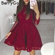 4315a1798486 BerryGo rosso Sexy mini abito di pizzo Elegante manica lunga scava fuori il  vestito da partito
