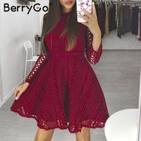 BerryGo Sexy red mini lace dress Elegant long sleeve hollow out party dress Autumn winter women dress vestidos robe femme 2018