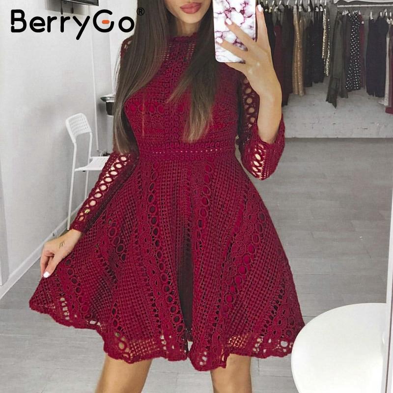 eb4ac956e366e3 Goede Kopen BerryGo Sexy Rode Mini Kanten Jurk Elegante Lange Mouwen ...
