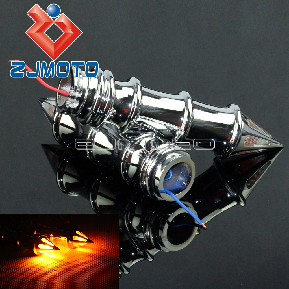 Chrome 1/'/' Handlebar Grips Turn Signal fit For Honda VTX1300 VTX1800 VT1300C