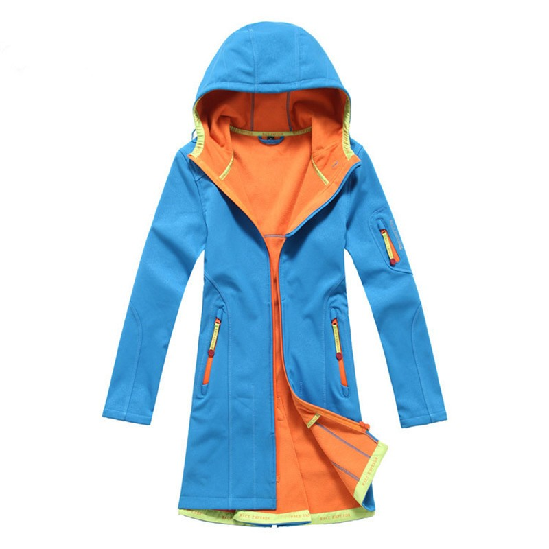 Winter And Spring And Autumn Women's Outdoor Sports Long Section Of The Soft Shell Windbreaker Windproof Waterproof Warm Mountai