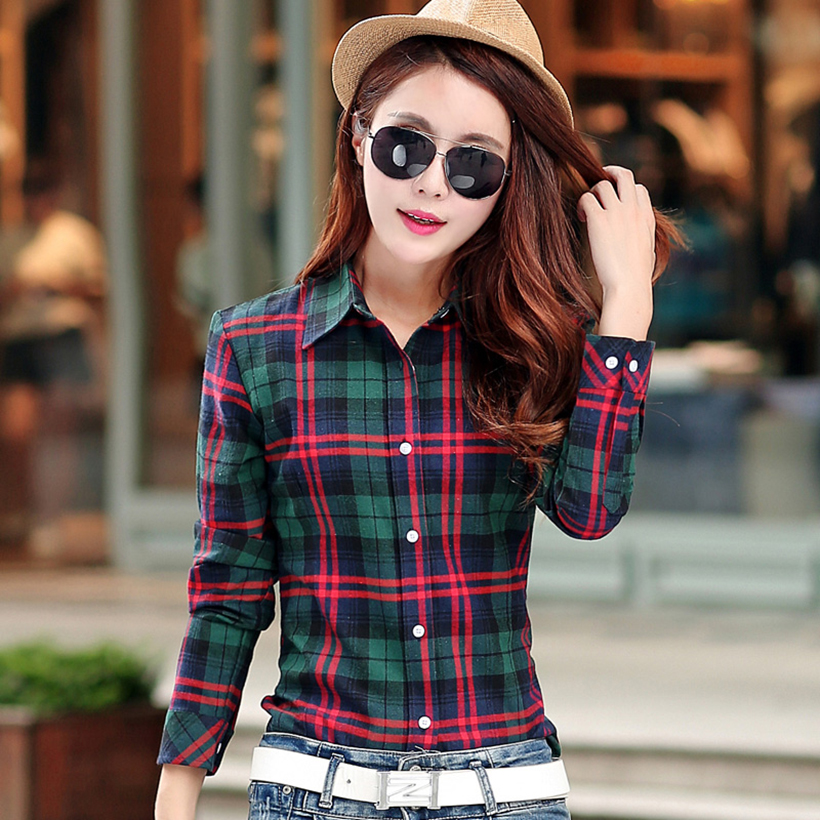 Plaid Shirt Women New 100% Cotton Long Sleeve Casual Flannel Shirts - Women's Clothing - Photo 6