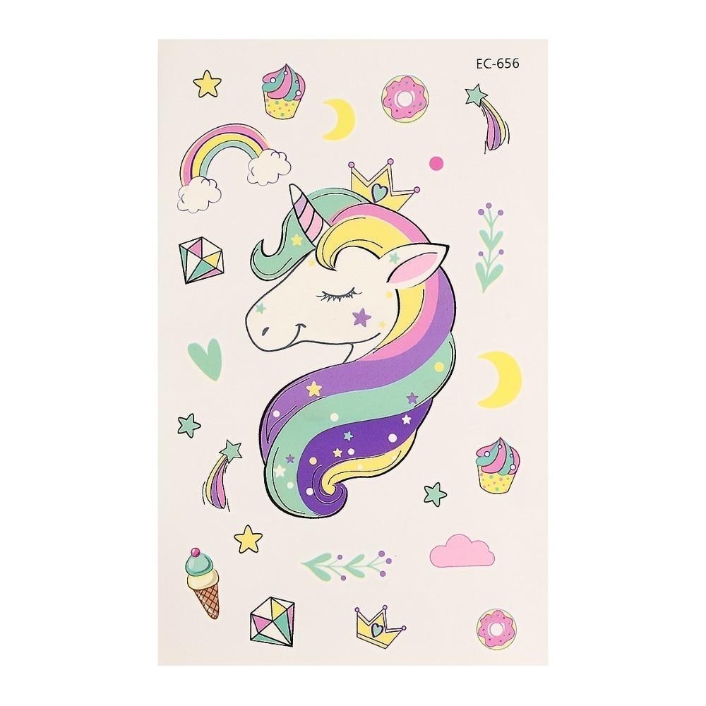 NEW Cute Unicorn Tattoo Sticker Temporary Cloud Rainbow Waterproof Decals Body Art Star Moon Diamond Image Tattoo Sticker