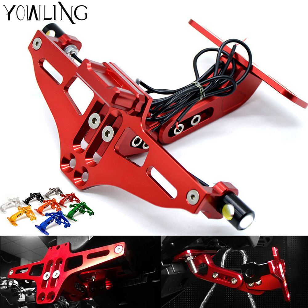 Universal Motorcycle Adjustable Angle Aluminum License Number Plate Frame Holder Bracket FOR Ducati 848/1098/1198 /748/916/996 universal motorcycle adjustable angle aluminum license number plate frame holder bracket for ktm duke 200 390 sx f exc f 85 sx