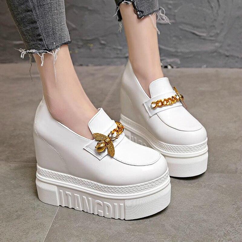 Haut Sneakers Qualité Haute Ascenseur Talons 2 Lianes W05 Abeille Coins Cuir En Zapatos Chaîne Chaussures Mujer forme Verni 1 Femme Casual Plate 6arqdOan