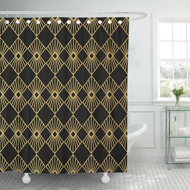Fabric Shower Curtain Green Artdeco Style Abstract Classy Clip Clipart Computer Digital Drawing Decorative Bathroom