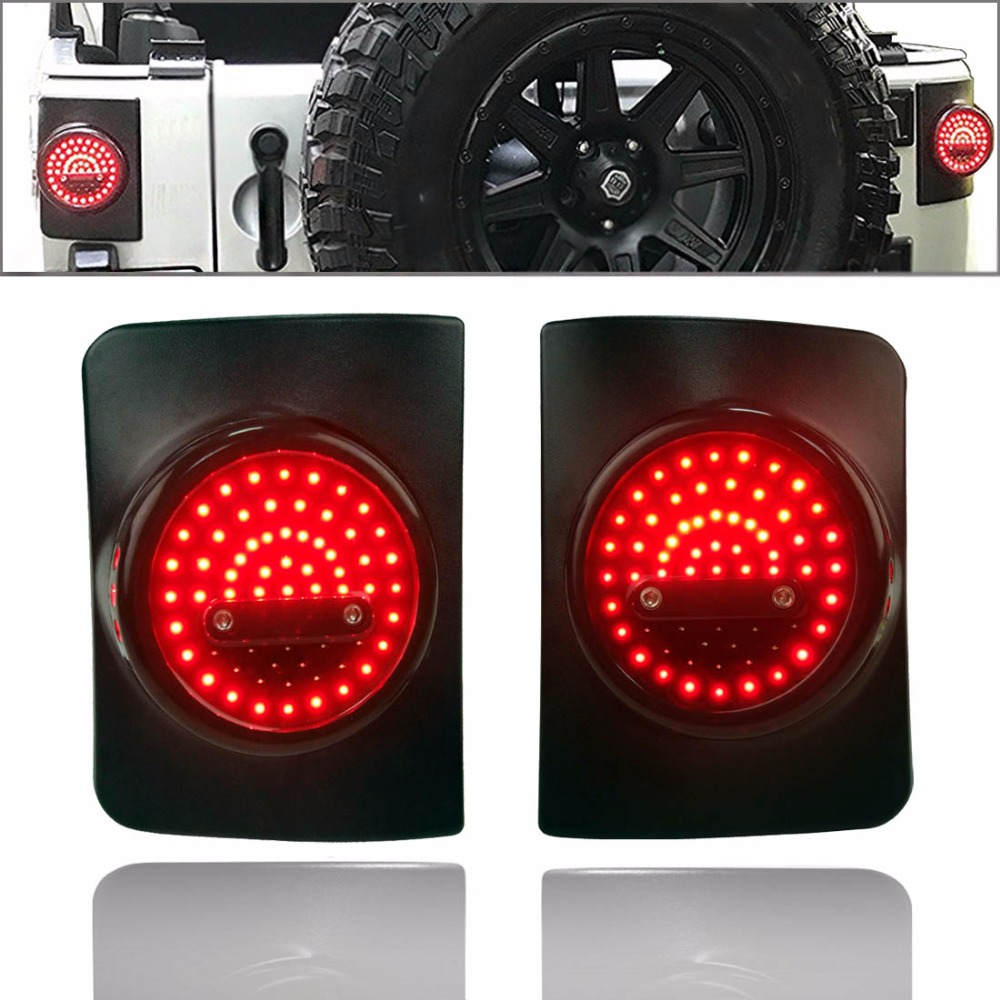 LED Round Tail Light Running Brake Light Turn Signal Reverse Light For Jeep Wrangler Unlimited JK 4 Door Led Taillight 4pcs black led front fender flares turn signal light car led side marker lamp for jeep wrangler jk 2007 2015 amber accessories